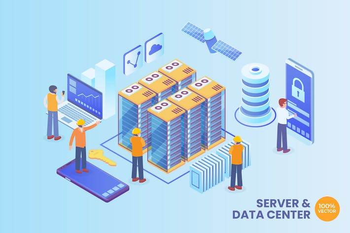 Thumbnail for Isometric Server And Data Center Vector Concept