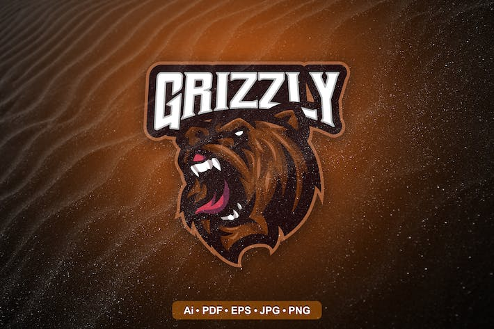 Grizzly Bear Mascot Logo template