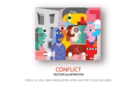 Conflict modern fine art vector illustration