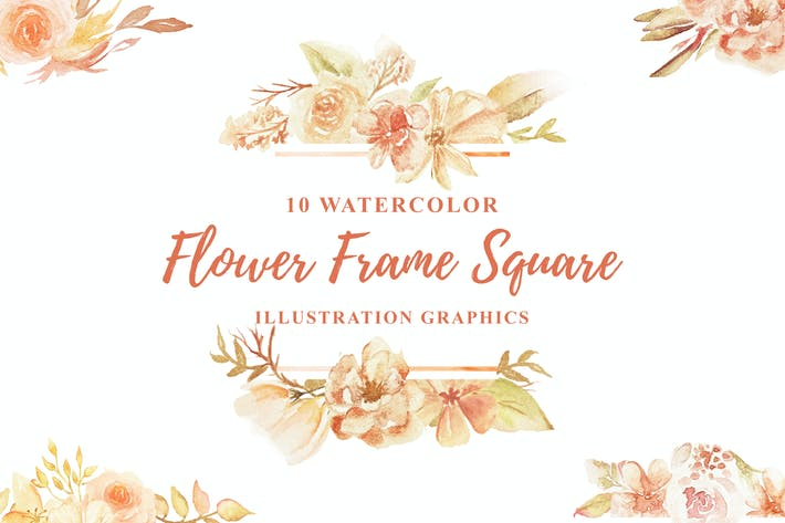 Thumbnail for 10 Watercolor Flower Frame Square Illustration