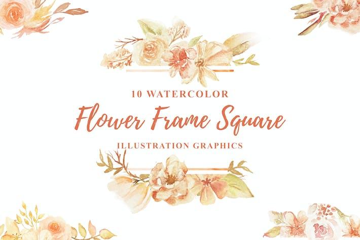 Thumbnail for 10 Aquarell-Blumen-Rahmen Quadratische Illustration