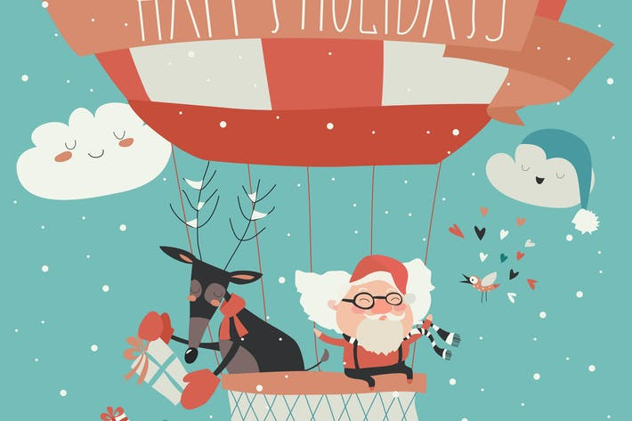 Cover Image For Santa Claus flying in a hot air balloon with reind