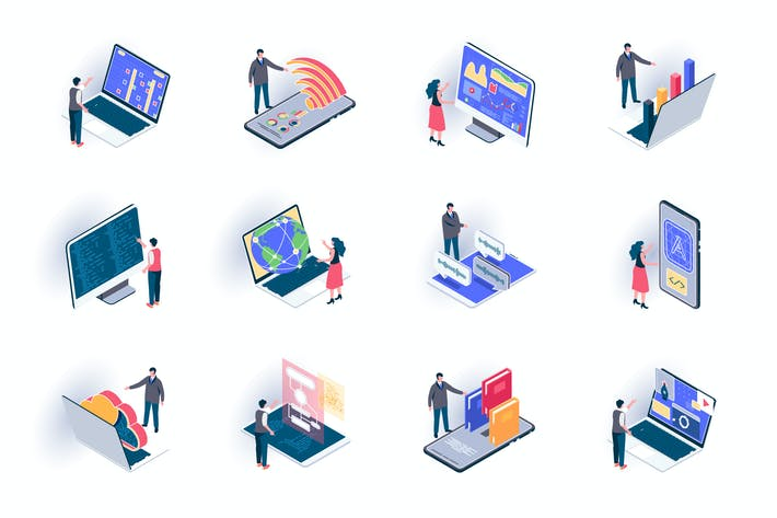 Thumbnail for Freelance Work Isometric Icons Pack