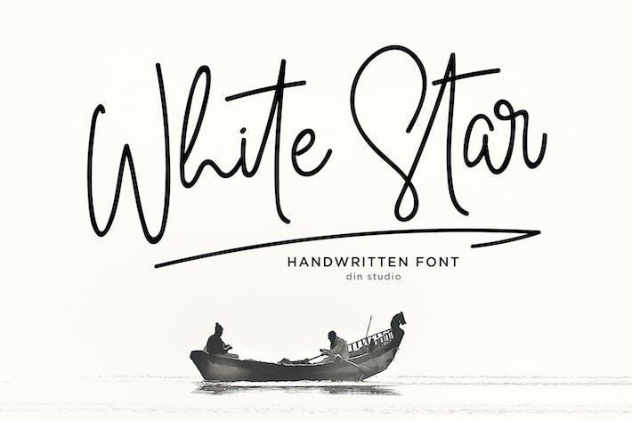 Thumbnail for White Star - Monoline Signature Font