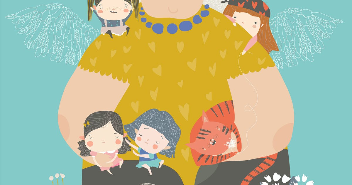 Download Cute cartoon grandmother hugging their grandchildr by masastarus