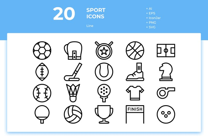 Thumbnail for 20 Sport Icons (Line)
