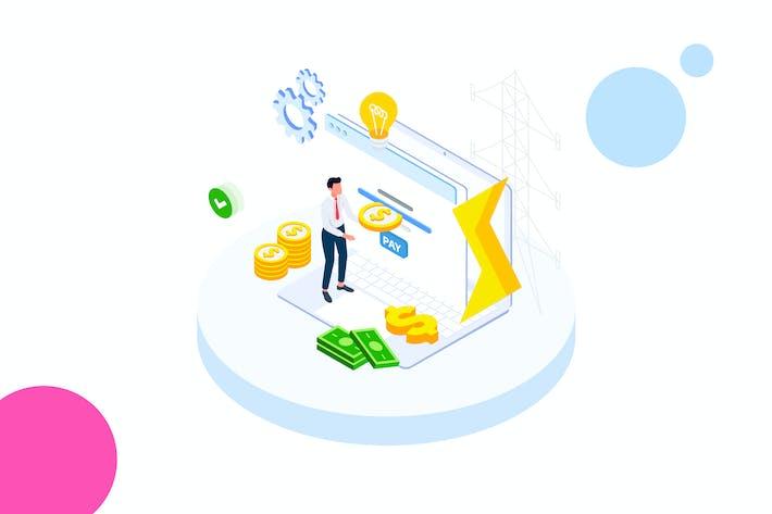 Thumbnail for Pay Money of Finance Isometric Illustration - FV