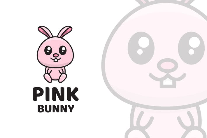 Thumbnail for Pink Bunny Cute Logo Template