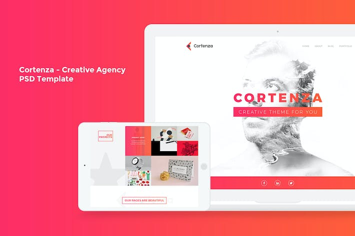 Cover Image For Cortenza - Creative Agency PSD Template