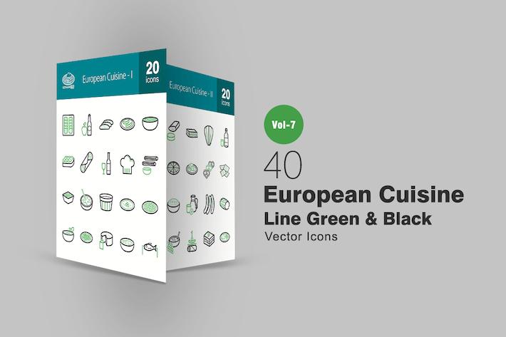 Thumbnail for 40 European Cuisine Green & Black Line Icons