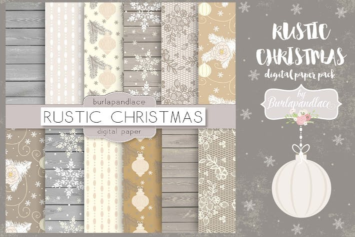 Thumbnail for Rustic Christmas digital paper pack