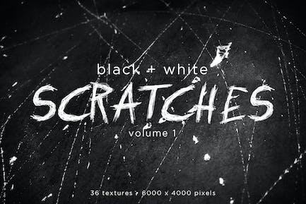 Schwarz-Weiß-Kratzer Texturen Volume 1