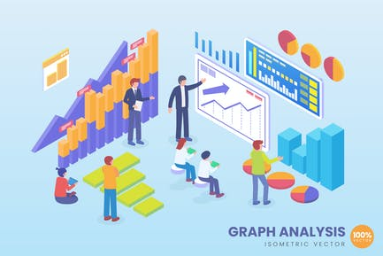 Isometric Graph Analysis Vector Concept