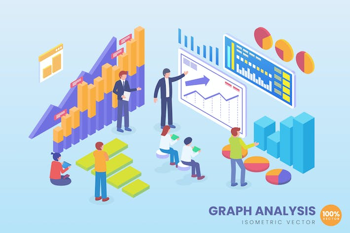 Thumbnail for Isometric Graph Analysis Vector Concept