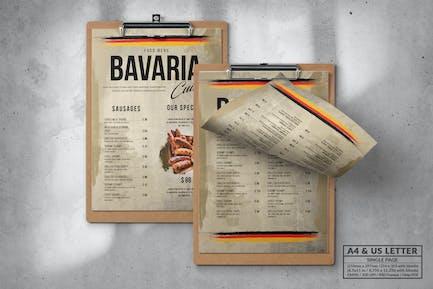 Bavaria Single Page Food Menu Design