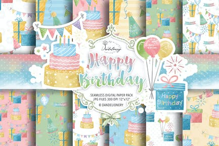 Happy Birthday digital paper pack