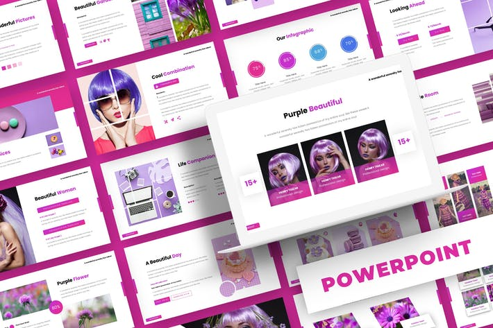 Thumbnail for Purple Beautiful - Powerpoint Template