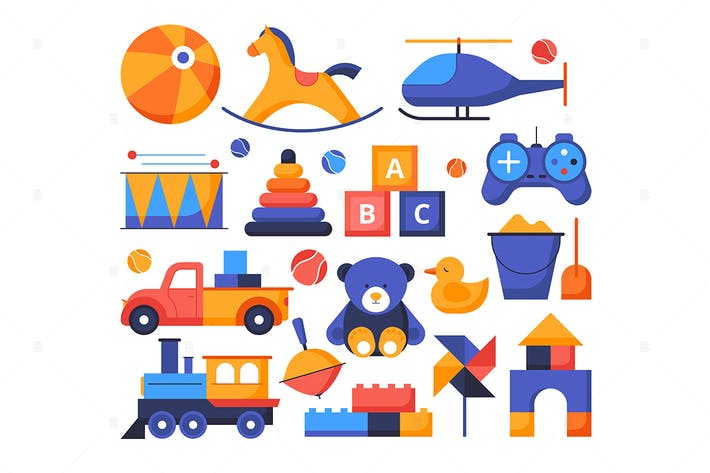 Thumbnail for Toys - set of flat design style elements