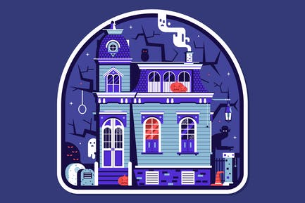 Haunted House Halloween-Aufkleber