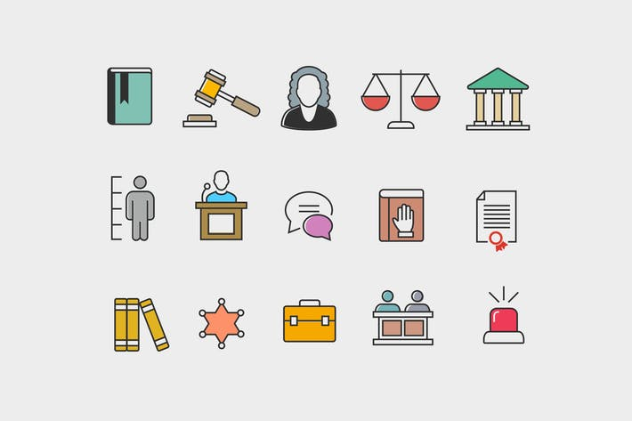 Thumbnail for 15 Law Courtroom Icons