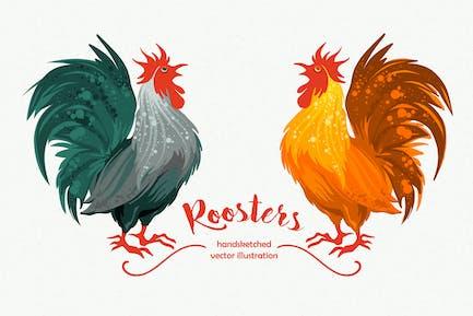 Handsketched Roosters Vector Illustartion