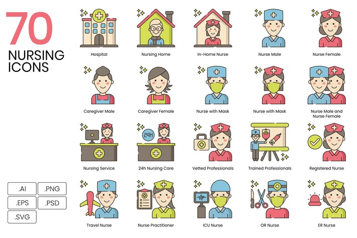 Thumbnail for 70 Nursing and Medical Line Icons