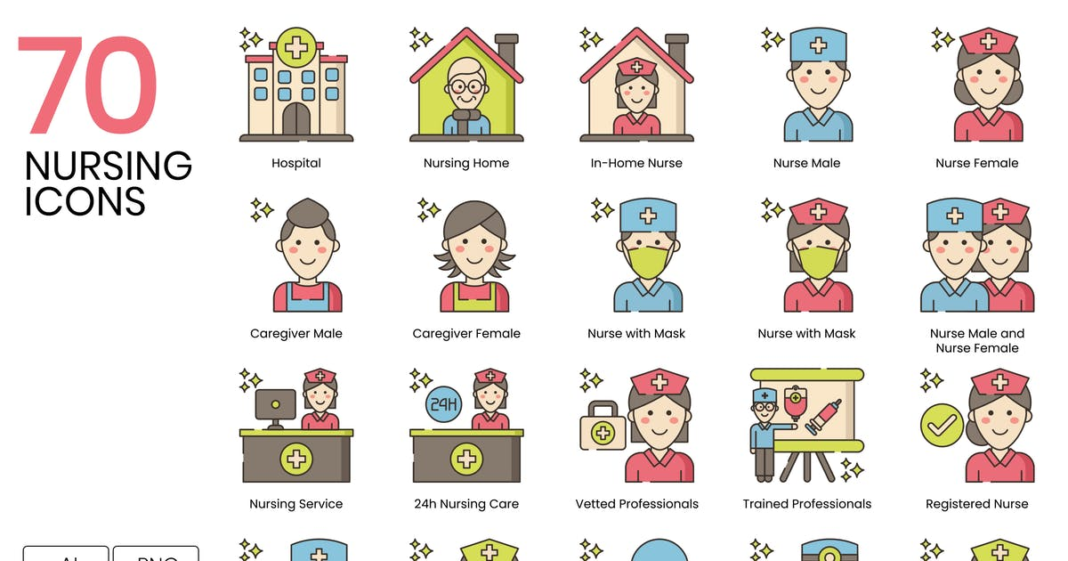 Download 70 Nursing and Medical Line Icons by Krafted