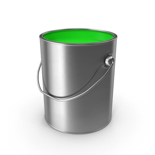 Open Metal Paint Can Green