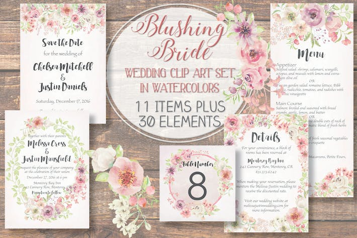 "Thumbnail for ""Blushing Bride"" Watercolor Clip Art Set"