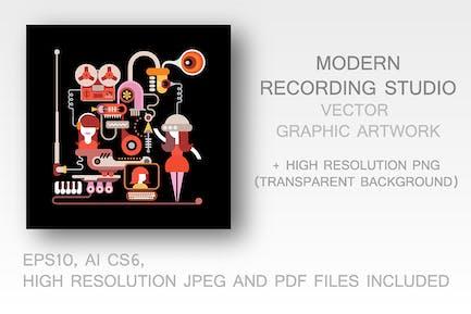Modern Recording Studio vector illustration