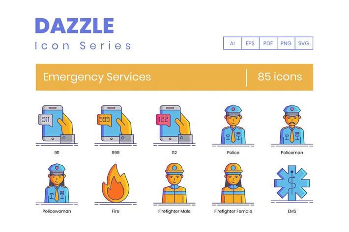 85 Emergency Services Icons - Dazzle Series