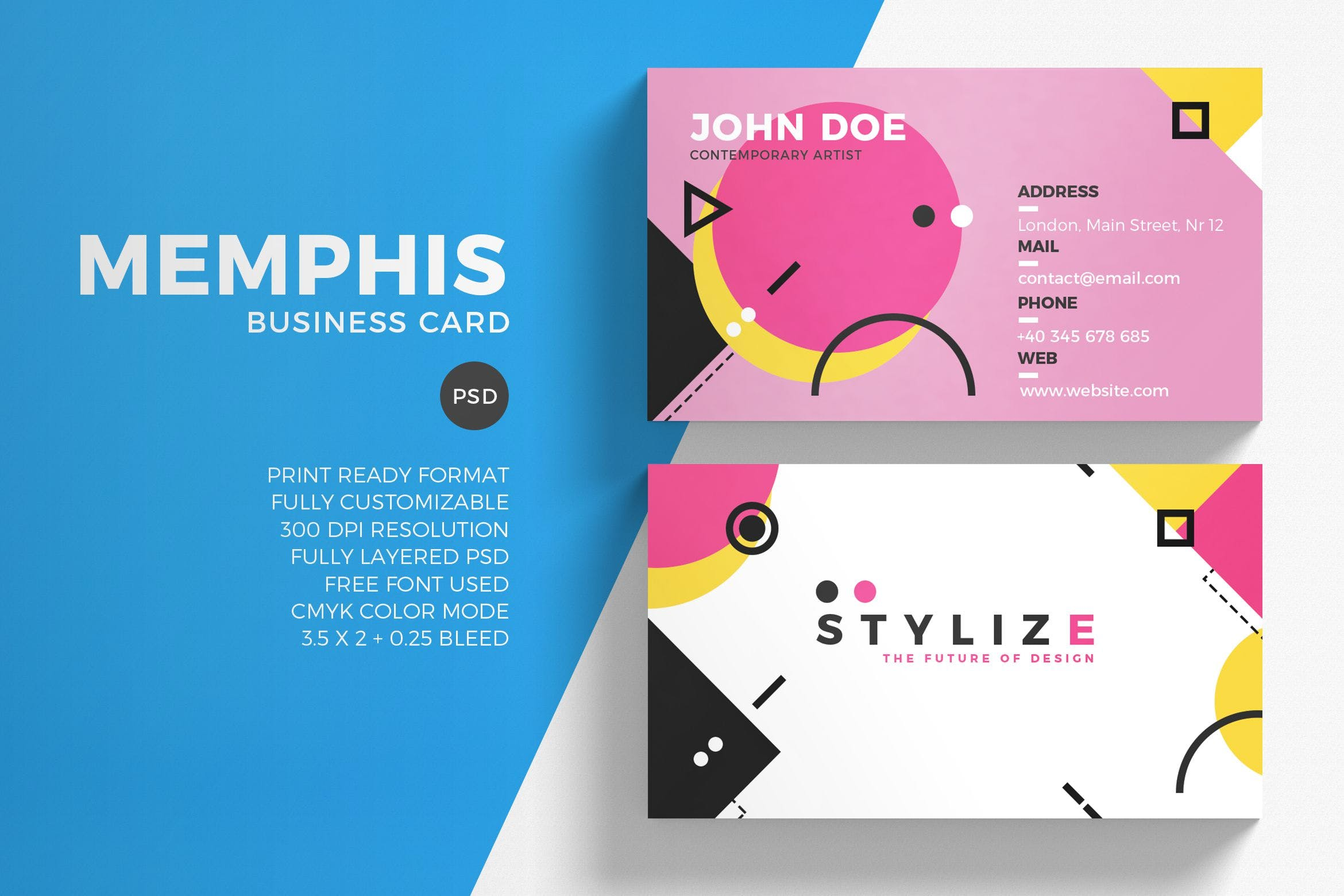 Memphis Business Card Template by Sztufi on Envato Elements