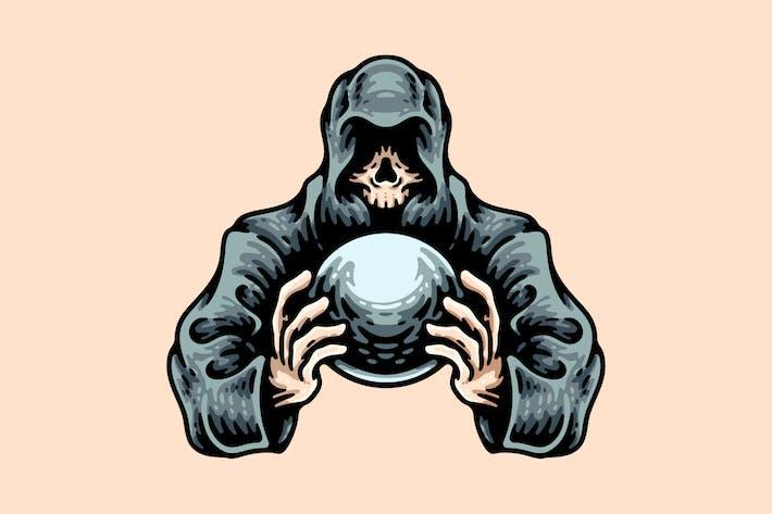 Totenkopf mit Kapuze und Kristallkugel