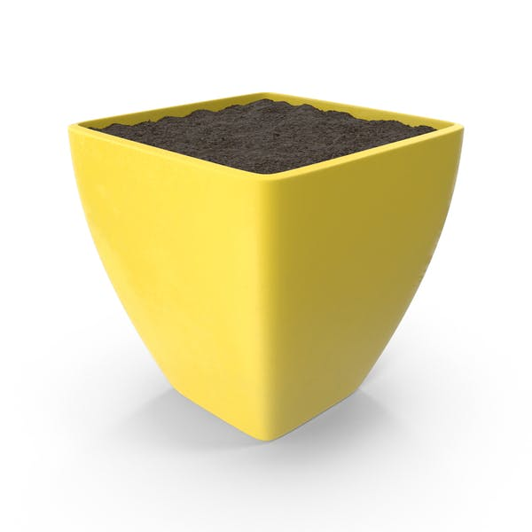 Thumbnail for Yellow Flower Pot With Soil
