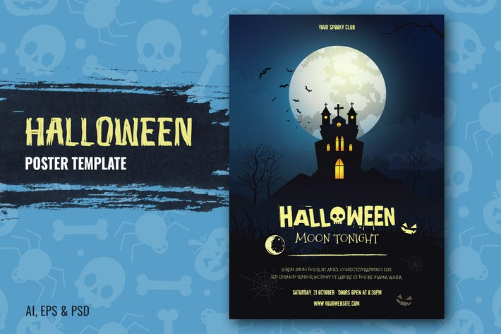 Thumbnail for Halloween Moon Tonight Flyer Template