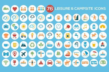 Kit de iconos de camping, ocio y turismo