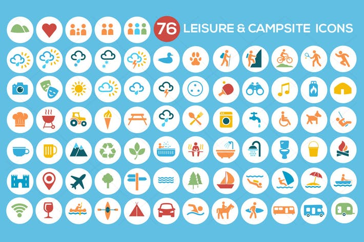 Thumbnail for Camping, Leisure & Tourism Icon Set