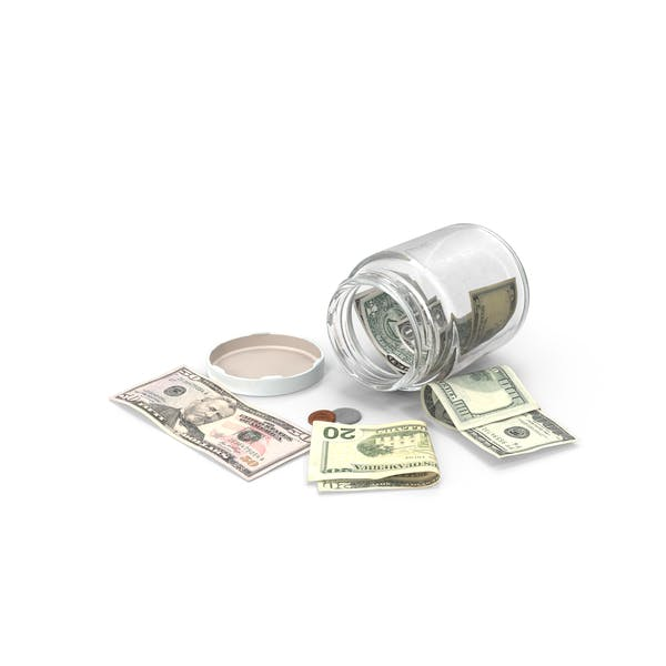 Glass Jar with Currency