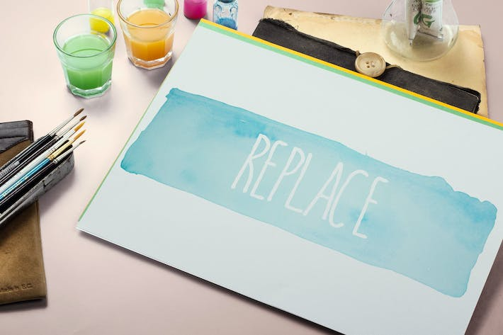 Thumbnail for Watercolor Paint Mockup Template #5