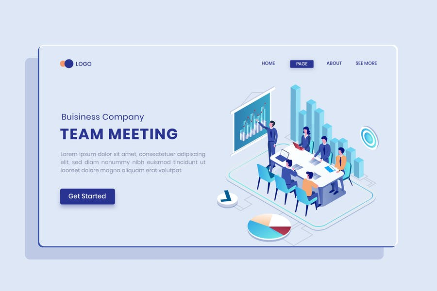 Team Meeting Isometric Concept Langding Page