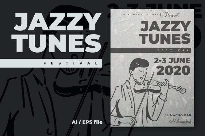 Thumbnail for Jazzy Tunes Music Festival Flyer Poster