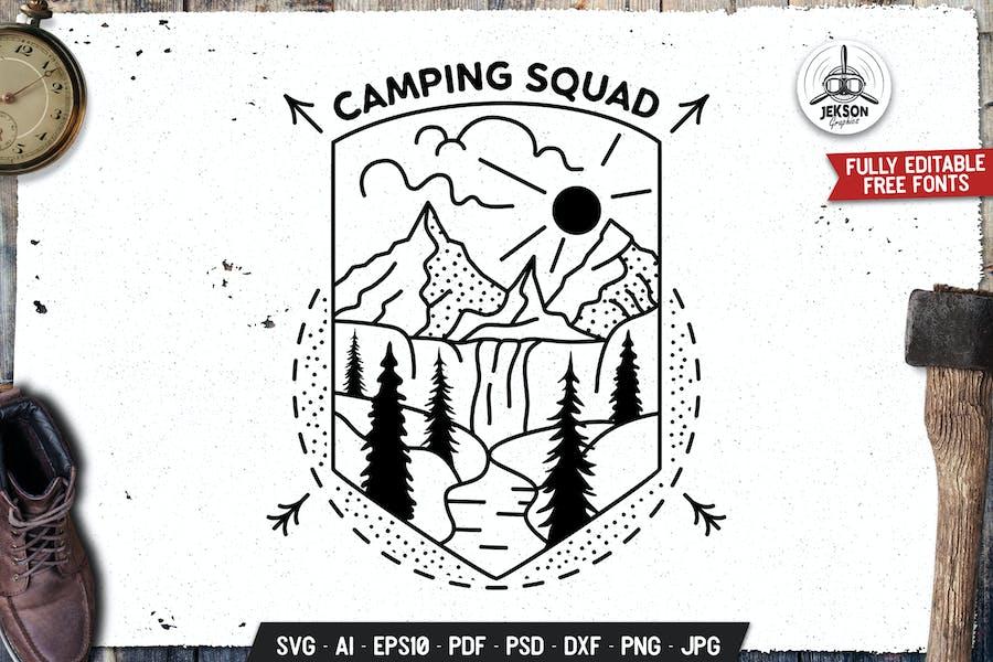 Camping Squad Line Art Badge Sacred Geometry
