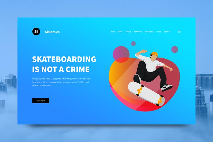 Thumbnail for Skateboarding Web Header PSD and Vector Template