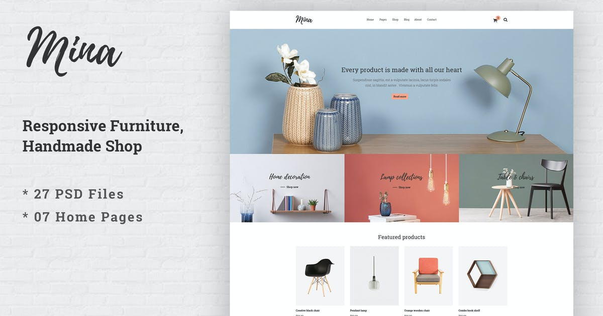 Download Mina - Responsive Furniture Handmade Shop Template by AuThemes