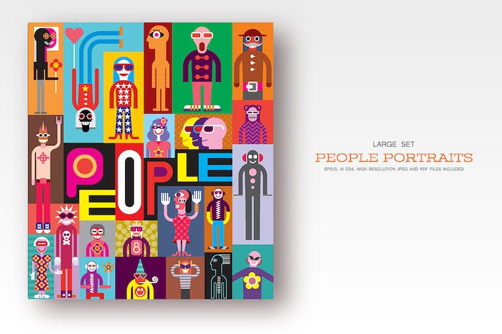 Cover Image For People portraits, flat style vector illustrations