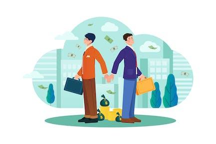 Empresarios apretando manos espalda con espalda