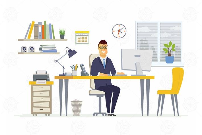 Office Man - modern vector flat illustration
