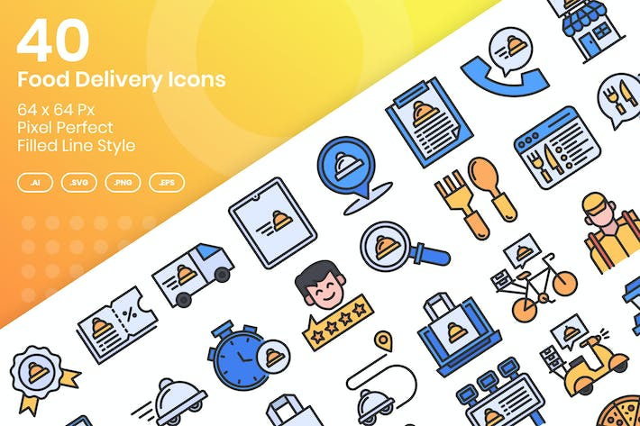 Thumbnail for 40 Food Delivery Icons Set - Filled Line