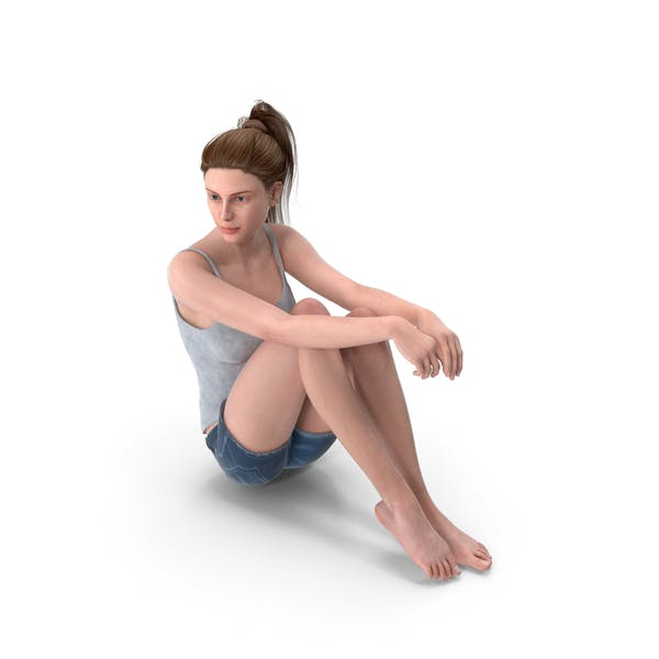 Woman Sits Arms on Legs