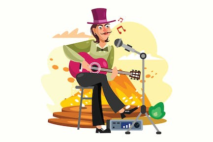 Acoustic Guitar Player Vector Illustration